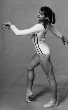 Nadia Comaneci competing in the 1976 Montreal Olympics. She had a baby at almost 45